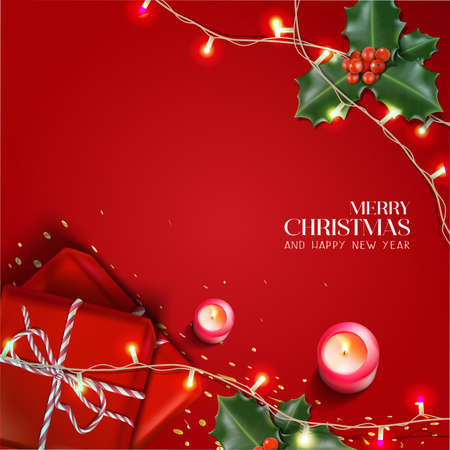 Vector realistic Christmas and New Year background, banner, flyer, greeting card, postcard. Square orientation. Red background with gift boxes and candles with mistletoe. Иллюстрация