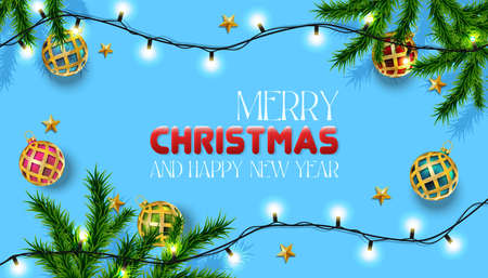 Vector realistic Christmas and New Year background, banner, flyer, greeting card, postcard. Horizontal orientation. Blue background with fir trees and golden balls with lights.