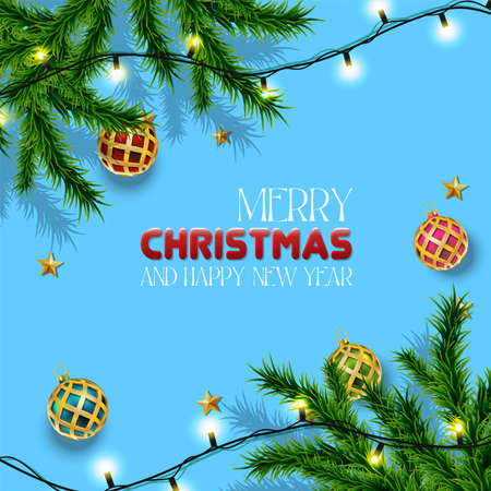 Vector realistic Christmas and New Year background, banner, flyer, greeting card, postcard. Square orientation. Blue background with fir trees and golden balls with lights. Иллюстрация