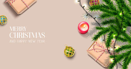 Vector realistic Christmas and New Year background, banner, flyer, greeting card, postcard. Horizontal orientation. Brown background with fir trees and decorations with candles.