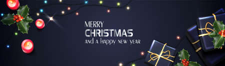 Vector realistic Christmas and New Year background, banner, flyer, greeting card, postcard. Horizontal orientation. Black background with gift boxes, mistletoe and candles.