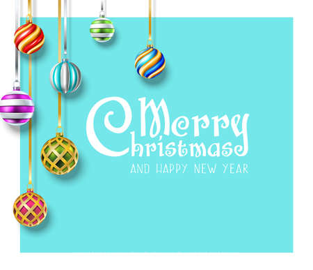 Vector realistic Christmas and New Year background, banner, flyer, greeting card, postcard. Square orientation. Colorful hanging balls Иллюстрация