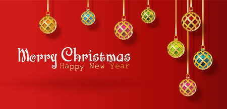 Vector realistic Christmas and New Year background, banner, flyer, greeting card, postcard. Horizontal orientation.