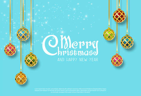 Vector realistic Christmas and New Year background, banner, flyer, greeting card, postcard. Horizontal orientation. Colorful hanging balls with sparkles on blue.