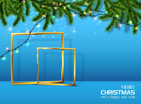 Vector realistic Christmas and New Year background, banner, flyer, greeting card, postcard. Blue background with golden frames and fir tree and lights.
