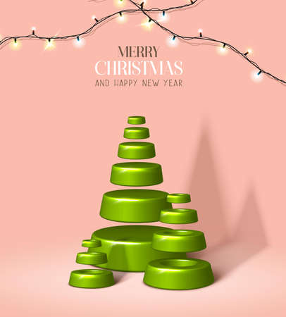 Vector realistic Christmas and New Year background, banner, flyer, greeting card, postcard. Vertical orientation. Pink pastel background with green fir trees ans lights.
