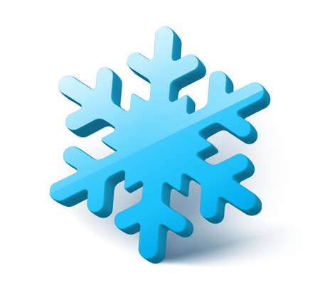 3d vector blue snowflake. Isolated on white background.