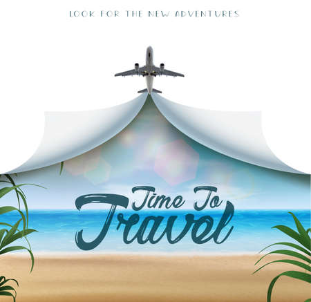 Time to travel realistic vector banner with white copy space and airplane and tropical beach view with leaves, plants and beach with sand and ocean.