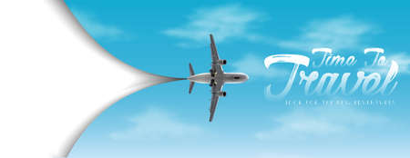 Time to travel vector flyer with white copy space and sky with airplane. Иллюстрация