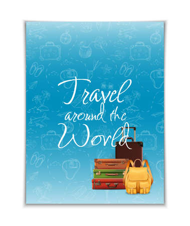 Travel around the world banner with hand drawn elements and realistic luggage. Vector illustration