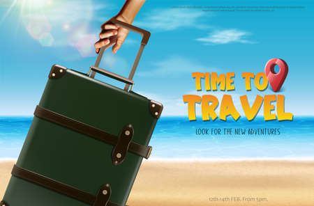 Time to travel banner. Tourist with luggage on the beach.