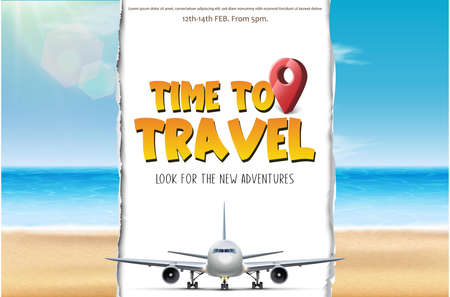 Vector time to travel tourist banner. With beach and airplane that cuts paper.