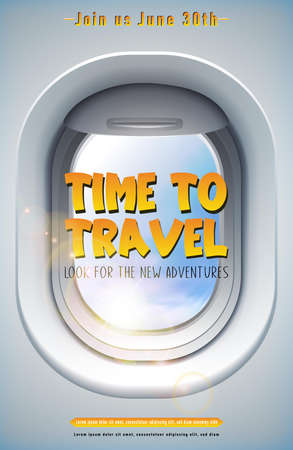 Vector time to travel banner with plane window and sky. Иллюстрация