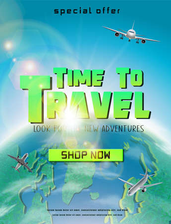 Time to travel banner with green globe and flying planes around. Vertical orientation.