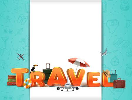 Vector travel around the world banner with 3d letters and realistic voyage elements.