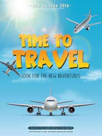 Vector travel banner. Time to travel poster.