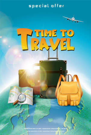Vector realistic travel concept banner or poster with tourist elements, luggage, map, plane with a globe.
