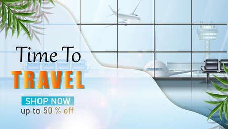 Vector travel banner. Voyage tourist background with airport waiting area. Иллюстрация