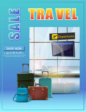 Vector travel banner. Vector travel banner. Vector vacation flyer with flight schedule and luggage on the airport background.