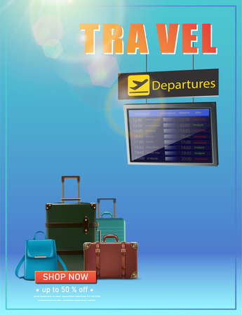 Vector travel banner. Vector vacation flyer with flight schedule and luggage.