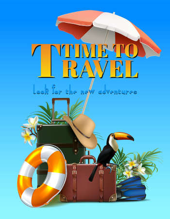 Vector summer sale banner template. Vertical orientation with luggage, umbrella, hat, life circle, map, camera on the sand island. Travel tourist concept.