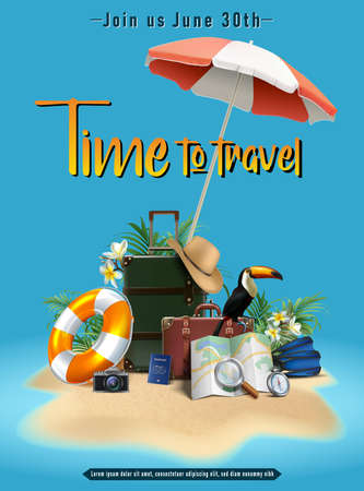 3d realistic vector summer travel banner with luggage, hat. life circle, tucan bird and umbrella on blue background. Иллюстрация