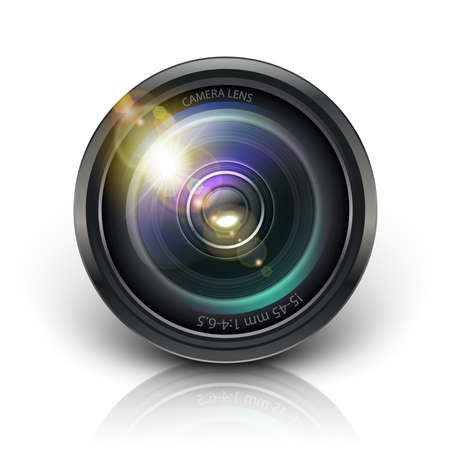 3d realistic vector camera lens icon. Isolated on white background. Иллюстрация
