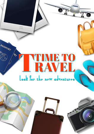 Vector travel banner. 3d realistic luggage, plane, backpack, map, camera, summer travel tourist concept flyer.