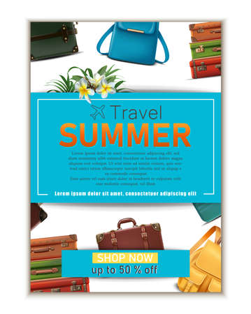 Vector travel banner. 3d realistic luggage, summer travel tourist concept flyer.
