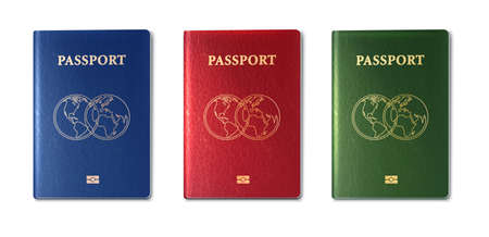 3d realistic vector collection of passports, green, red and blue.