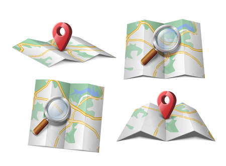 Vector icon of map with magnifying glass or GPS red arrow.