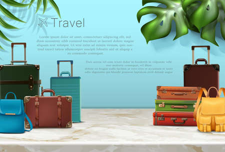 Vector travel banner. Vector realistic travel concept banner or poster with tourist elements, luggage and tropical plants.