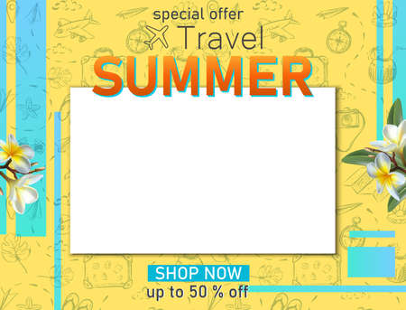 Vector travel banner. Summer travel tourist banner with copy space and hand drawn elements, frangipani flowers.