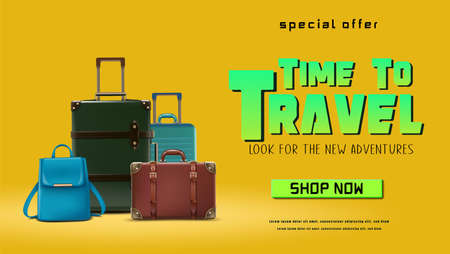 Vector travel banner. Summer trip time to travel concept background with luggage.