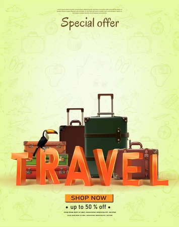 Vector travel banner with hand drawn elements. Summer trip time to travel concept background with luggage.