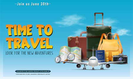 Vector realistic travel concept banner or poster with tourist elements, luggage, map, passport, plane. Иллюстрация