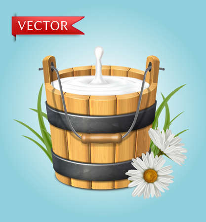 3d realistic vector icon. Wooden rustic bucket. Milk splash. Green grass and chamomile. Natural yogurt. isolated on white background.