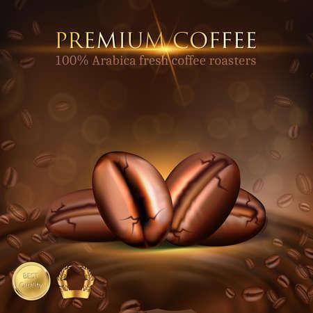 3d realistic vector illustration. Coffee shop. Banner. Menu template. Coffee beans. Иллюстрация