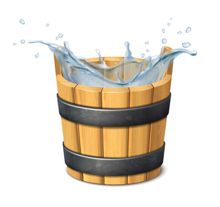 3d realistic vector icon. Water. Water splash. Wooden rustic bucket. isolated on white background. Фото со стока