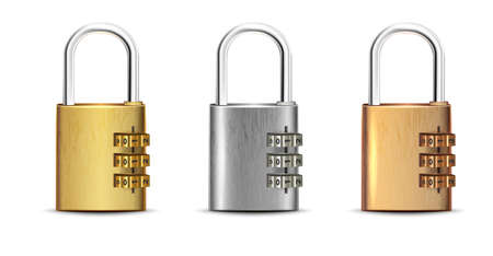 3d realistic vector set of square golden, silver, bronze padlock open and closed.