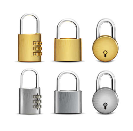 3d realistic vector set of round, square golden and silver padlocks open and closed.