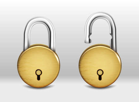 3d realistic vector set of round golden padlock open and closed.