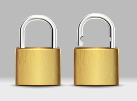3d realistic vector set of square golden padlock open and closed.