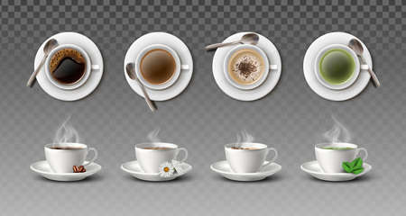 3d realistic vector collection of white coffee cups with spoons in side and top view- cappuccino, americano, black tea and green tea. Иллюстрация