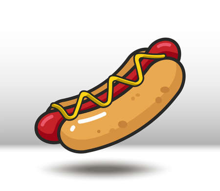 Vector colorful icon of hot dog. Isolated on white background.
