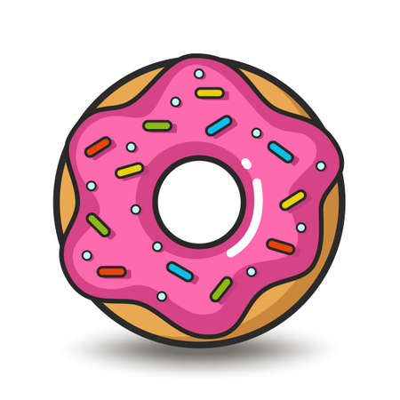 Vector colorful icon of pink doughnut. Isolated on white background. Иллюстрация