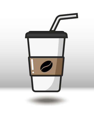 Vector colorful icon of coffee. Isolated on white background. Иллюстрация