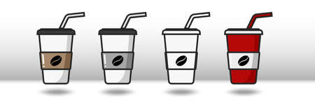 Vector colorful icon of four cups of coffee. Isolated on white background. Иллюстрация