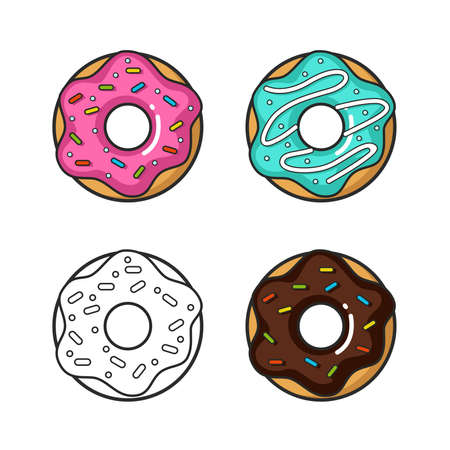 Vector colorful icon of four doughnuts. Isolated on white background.