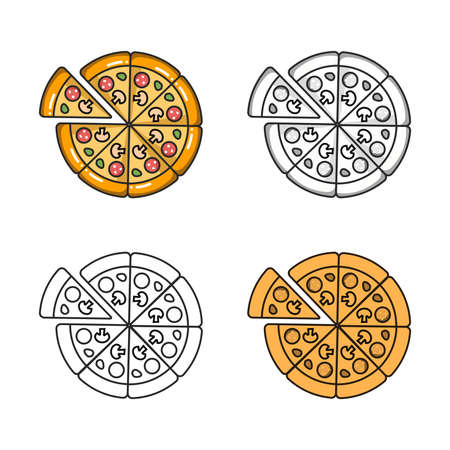 Vector colorful icon of four pizzas. Isolated on white background.